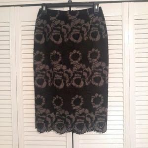 Antonio melani black lace pencil skirt sz 0 *Y